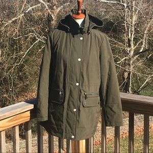 Army green Calvin Klein coat with removable hood